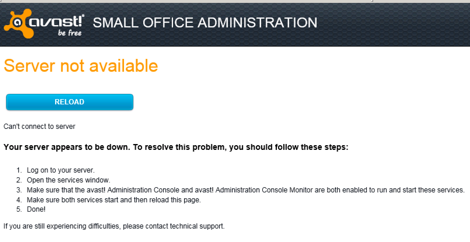 Avast Administration Console – Can't Connect to Server