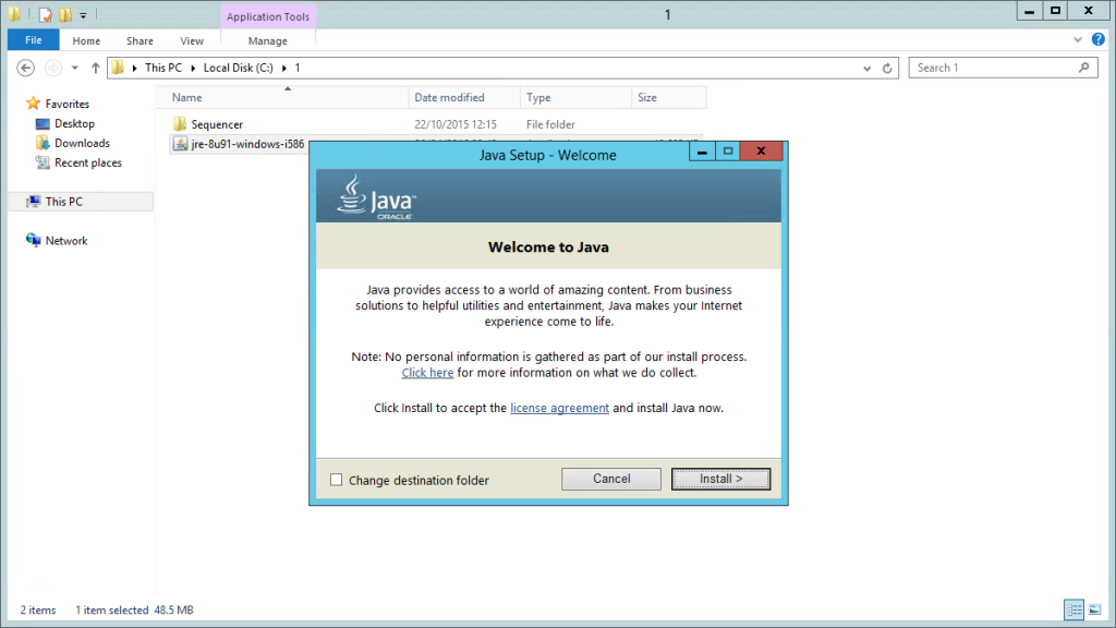 Sequencing Java Runtime Environment (JRE) 8u91 with App-V
